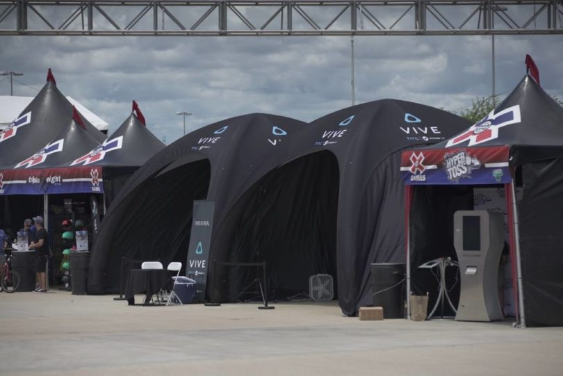 HTC Vive tents at X Games.