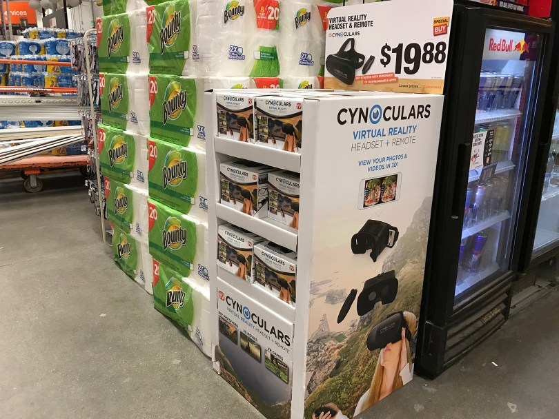 VR headsets at Home Depot.