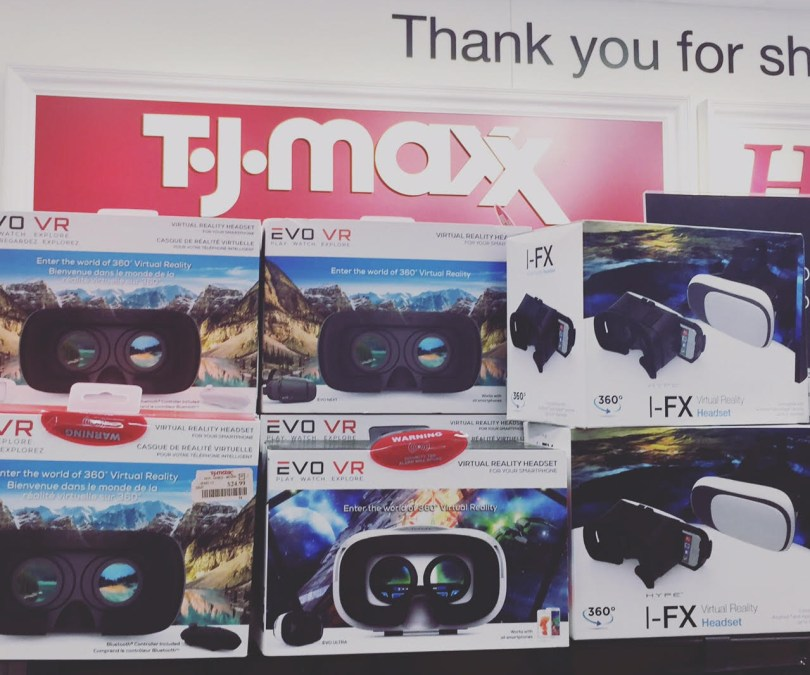 Low cost VR headsets can now be found at big box retailers like TJ Maxx stores.
