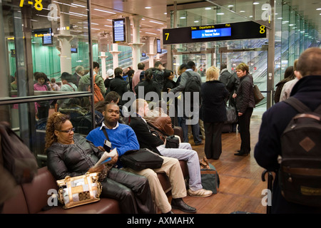 Passengers boarding a Eurostar train at Brussels Midi ...