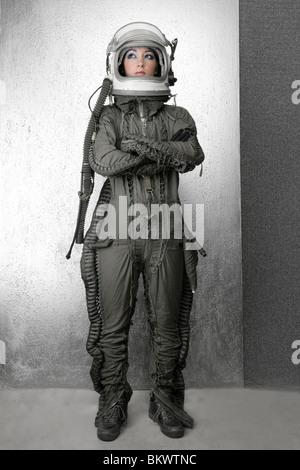 astronaut fashion woman full length space suit helmet
