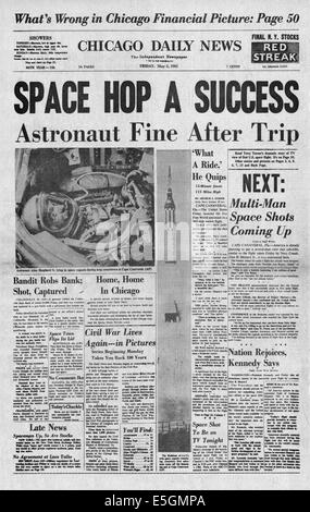 1961 Chicago Daily News front page reporting Alan Shepard