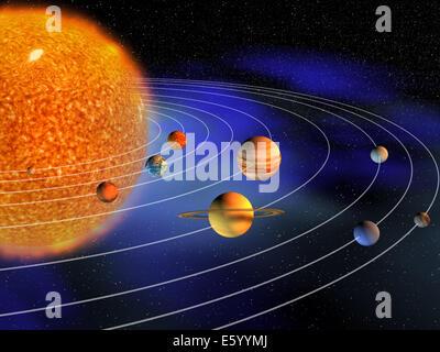 Diagram of solar system Stock Photo: 92879672 - Alamy