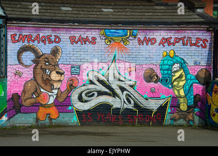 Wall Mural In Gorbals Glasgow Depicting The Story Of The