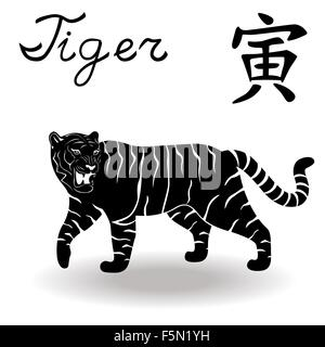 Chinese Zodiac Sign Tiger  Fixed Element Wood  symbol of New Year on         Chinese Zodiac Sign Tiger  Fixed Element Wood  symbol of New Year on  the Chinese