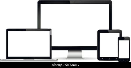 Set Of Realistic Computer Monitor Laptop Tablet Mobile Phone