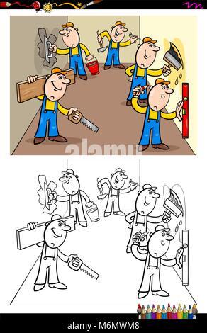 Arbeiter Cartoon Malvorlagen Vektor Abbildung Bild