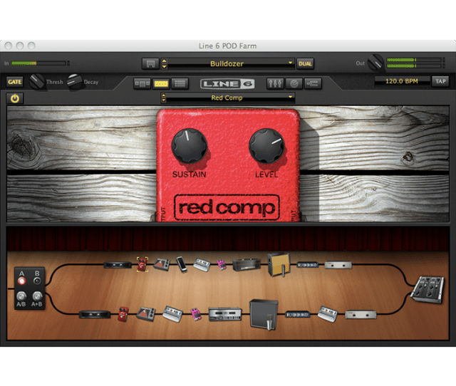 Line 6 Pod Farm 2 5 Complex Routing Window With Amp And Effects Model Signal Chain Image