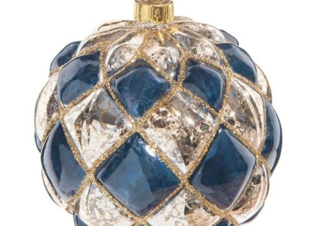 Boule de Noël dorée/bleue en verre 10 cm LAPIS