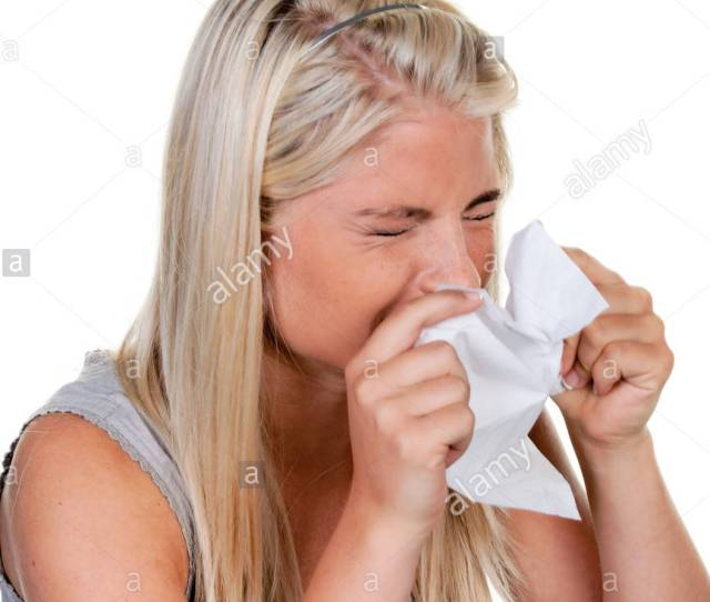 Woman With Allergies Hay Fever And Handkerchief