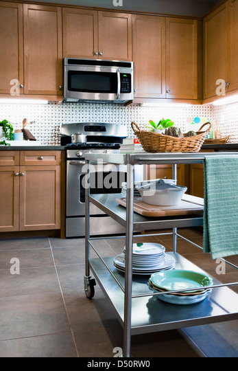 Stacks Dishes Chefs Cart Domestic Kitchen Tustin California