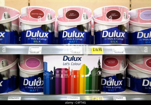 Dulux Tins Cans Of Paint For Homebase Uk Stock Image With Endurance