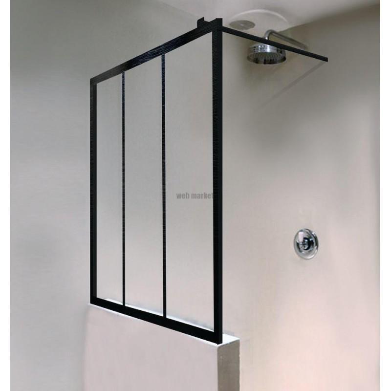 paroi de douche philly ambiance loft ei pw4 16010 npe noir verre clair clean ref 1406000851