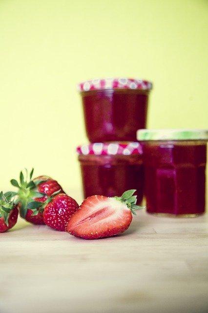 Strawberries Jam Glass Spread