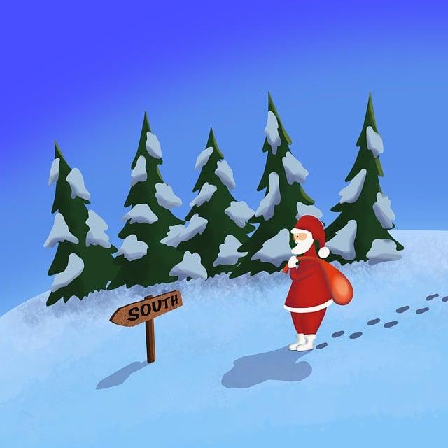 Image de père Noel dans la neige
