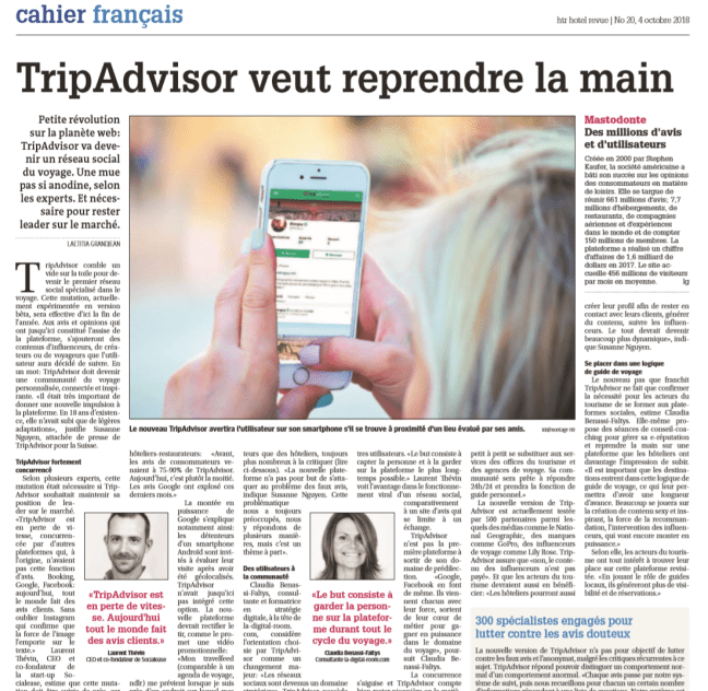 Claudia Benassi article sur tripadvisor reseau social marketing formation conseils hotels restaurant hotel revue hotelleriesuisse