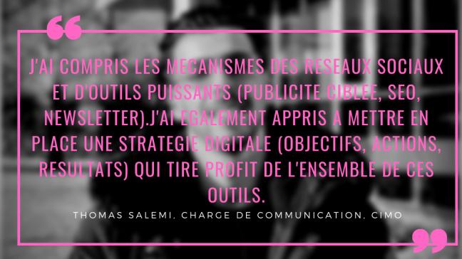 Témoignage Thomas Salemi Formation Digital marketing et reseaux sociaux la digital room CIMO