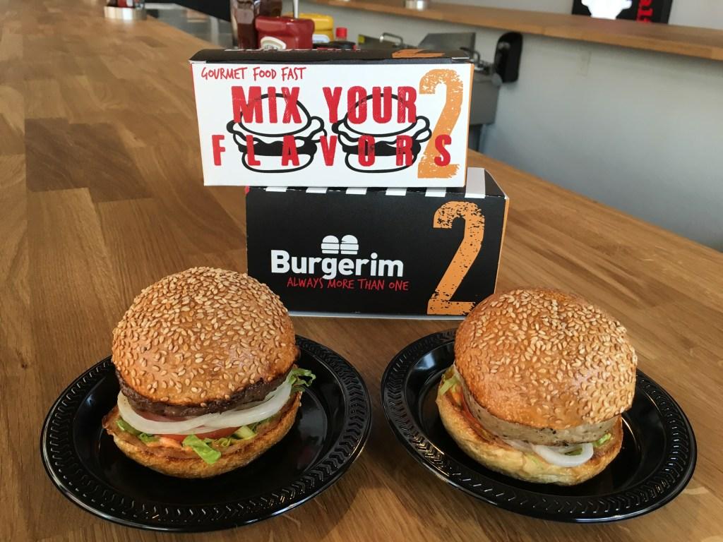Eating at Burgerim in Hollywood