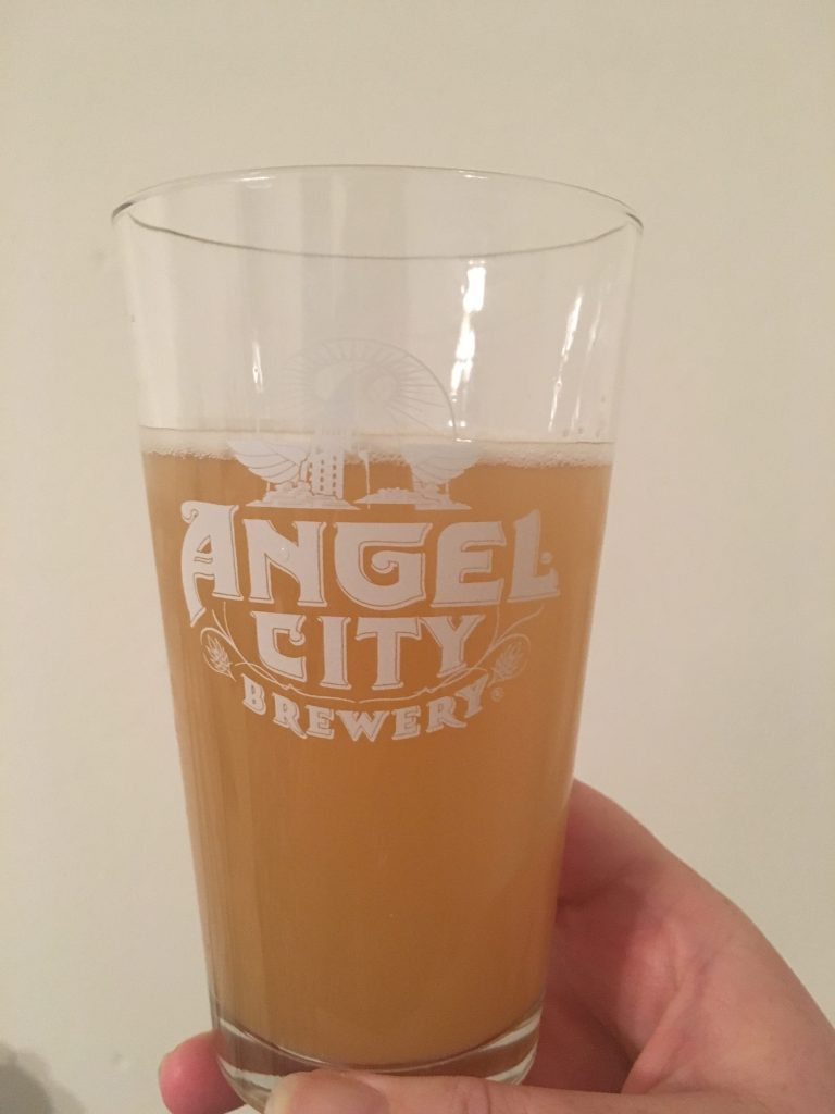 Enjoying Angel City Brewery's Peach Berliner Weisse