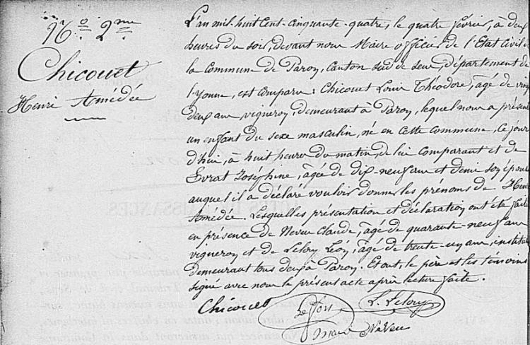 AD Yonne, cote 2E288/5, Paron naissances (1851-1875)