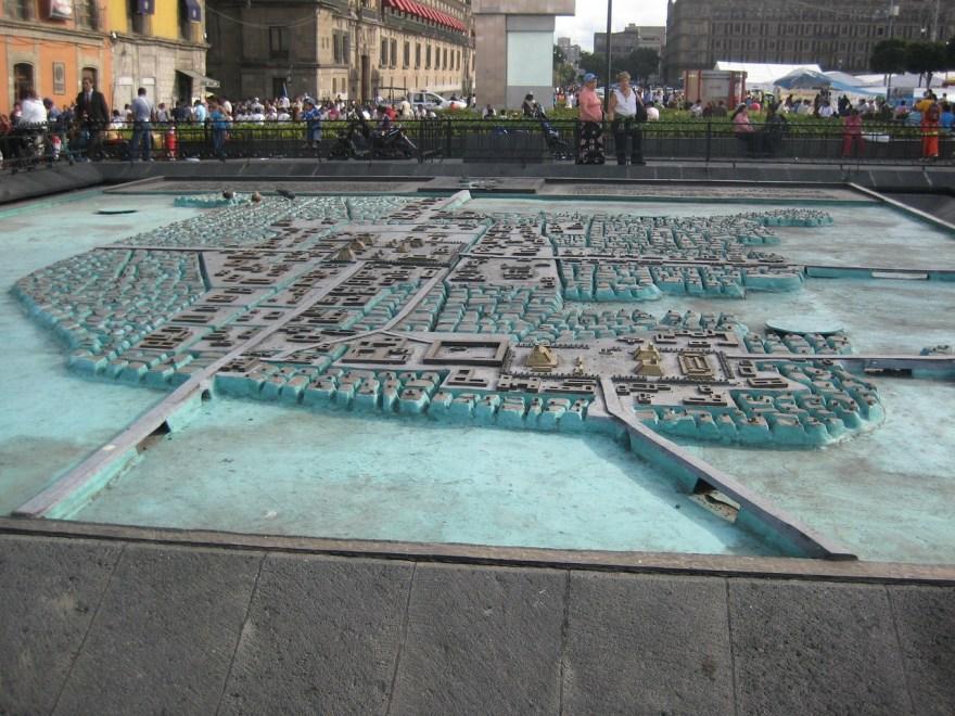 maqueta de Tenochtitlan en el Templo Mayor