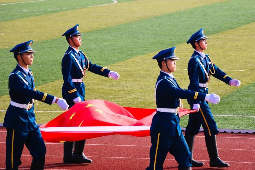 Bandera china desfile militar