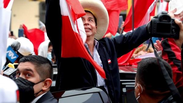 Foto de Pedroi castillo candidato presidencial en Perú