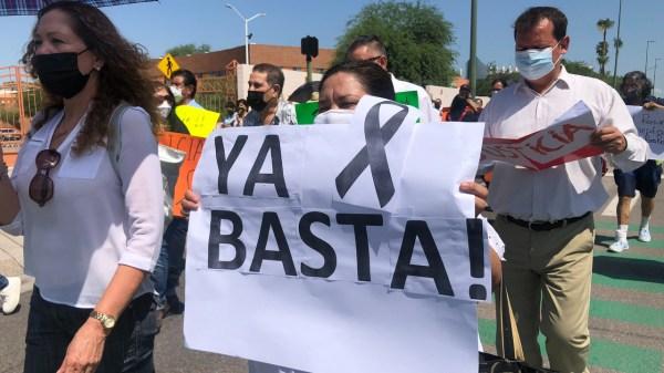 Foto de la marcha de periodistas de sonora