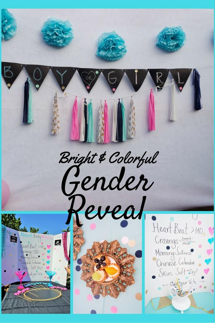 Gender Reveal Inspiration. Teal, Hot Pink and Gold Color Scheme