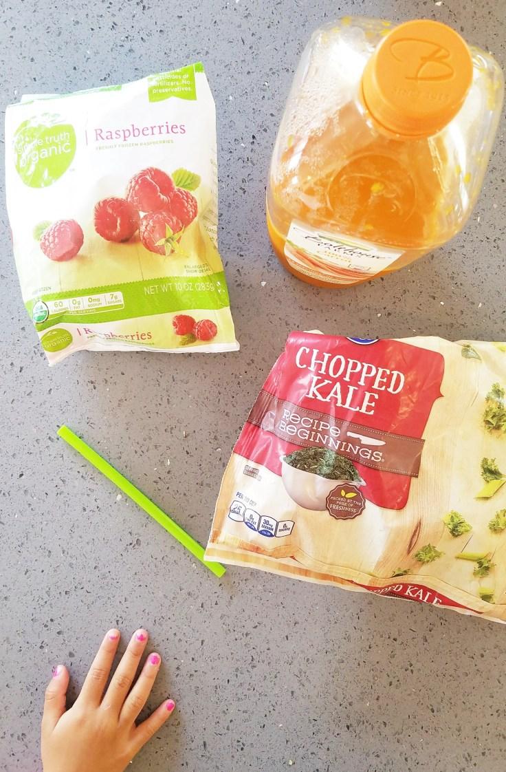 Raspberries, Carrot Juice and Kale Smoothie Ingredients