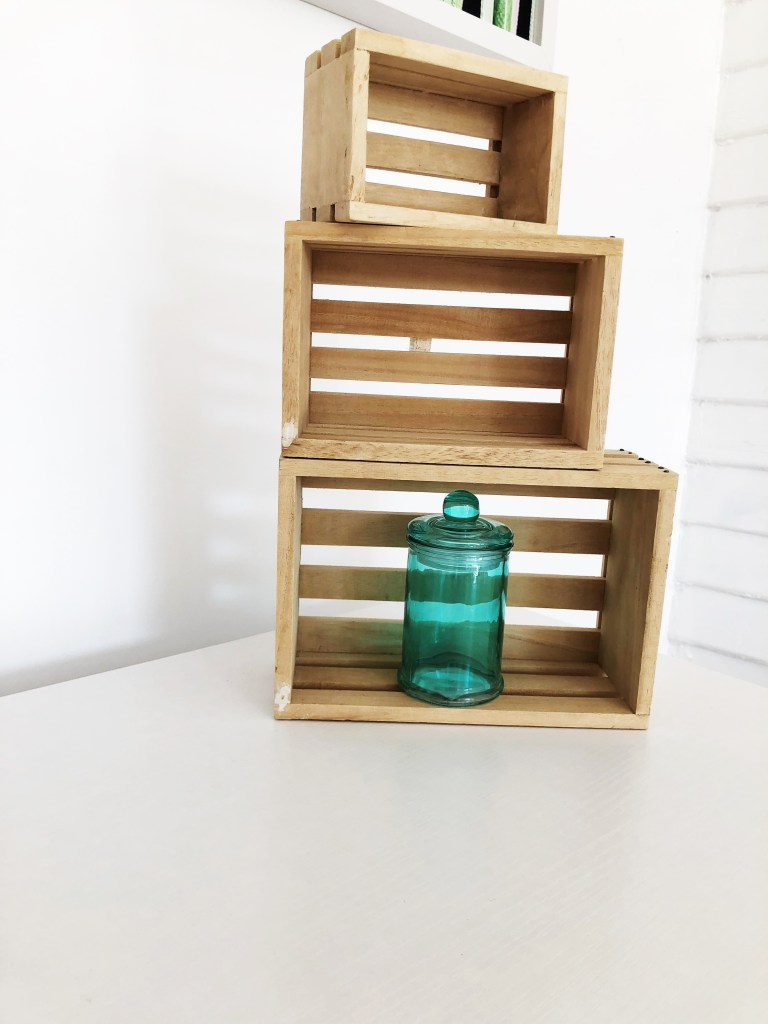 mini crates as decor
