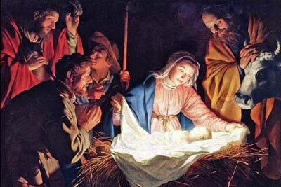 Peinture représentatn Joseph et Marie devant Jésus né dans la lumière