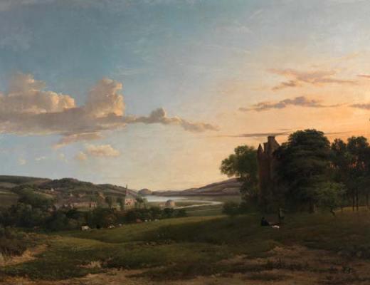 Tableau de la campagne au lever du soleil
