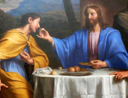 Tableau de la communion d'Emmaüs par Jésus