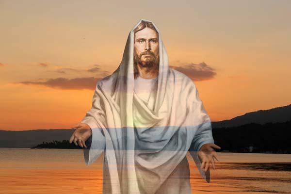 Jésus sur un fond coucher du soleil