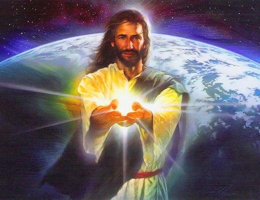 Jésus avec la lumière dans ses mains