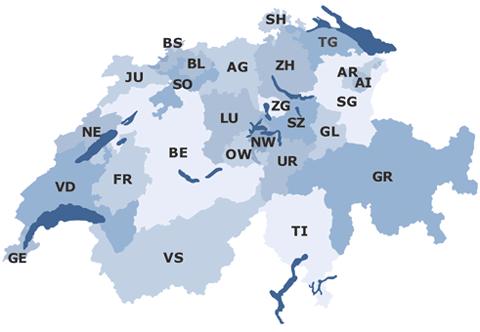 La carte des cantons Suisse pour mon défi