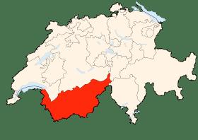 Carte du canton du Valais