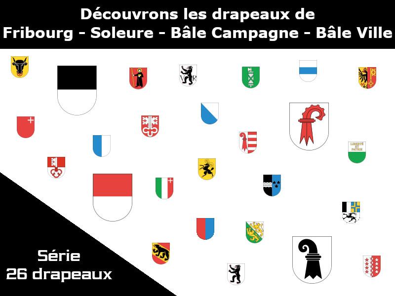 Vignette - Les drapeaux des cantons de Fribourg - Soleure - Bâle-Campagne - Bâle-Ville