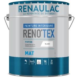 Reno tex mat est une peinture mat à base de résines alkydes en émulsion et acryliques pour travaux de finition soignée. Blanc Mat absolu.
