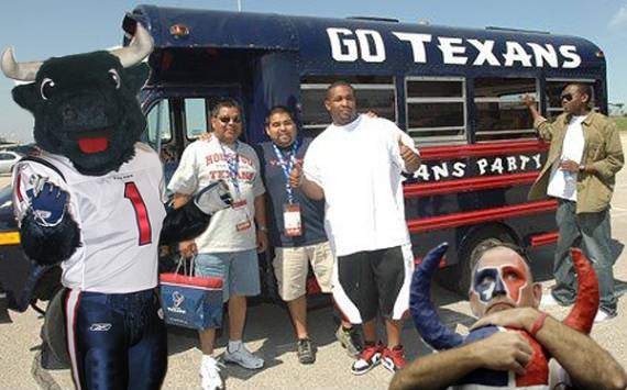 When the Texans come to town, these people will need a place to park their bus.  And probably some green space for their bull to graze.  Photo:##http://torotimes.com/2009/11/03/ten-tips-for-jumping-on-the-houston-texans-bandwagon/##Toro Times##