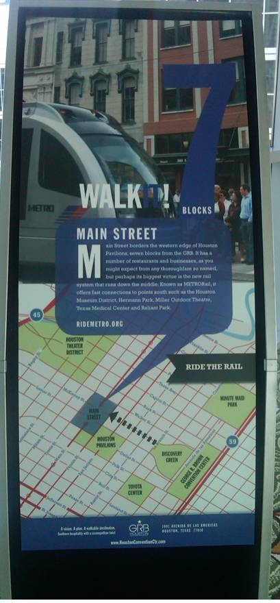 My wife's in Houston and noticed these way faring signs for pedestrians throughout their downtown.