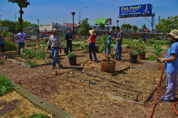 Students from Lincoln Heights and South L.A. finish up their morning work session in CSU's urban farm at the Expo Center. Sahra Sulaiman/Streetsblog L.A.