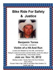 The flyer for the first ride seeking justice for Benjamin Torres.