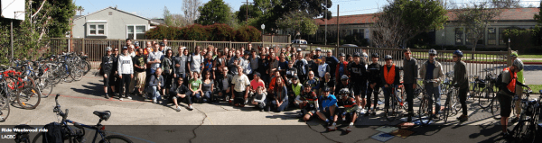 The participants in a February 2013 Ride Westwood ride showed support for the proposed bike lane. Photo: ##http://www.flickr.com/photos/lacbc/sets/72157632742418720/with/8464401136/##LACBC/Flickr##