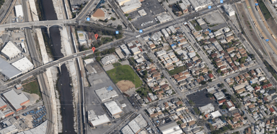 The two halves of the Downey Rec Center sit astride Broadway. Google map screenshot.