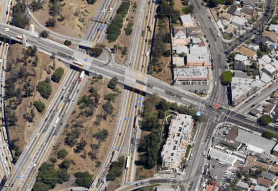 The bridge ends with the towers, at left. The intersection of Boyle and Whittier is marked by the red pointer, at right. (Google map screen shot)