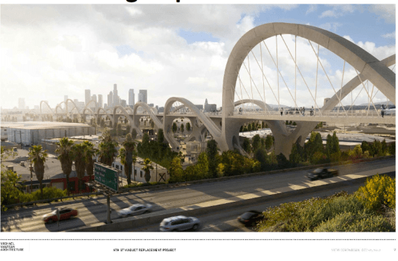 Not bad, right? Mock-up of the bridge from where it begins in the east, straddling the 101 fwy. Source: Sixth Street Viaduct Replacement Project
