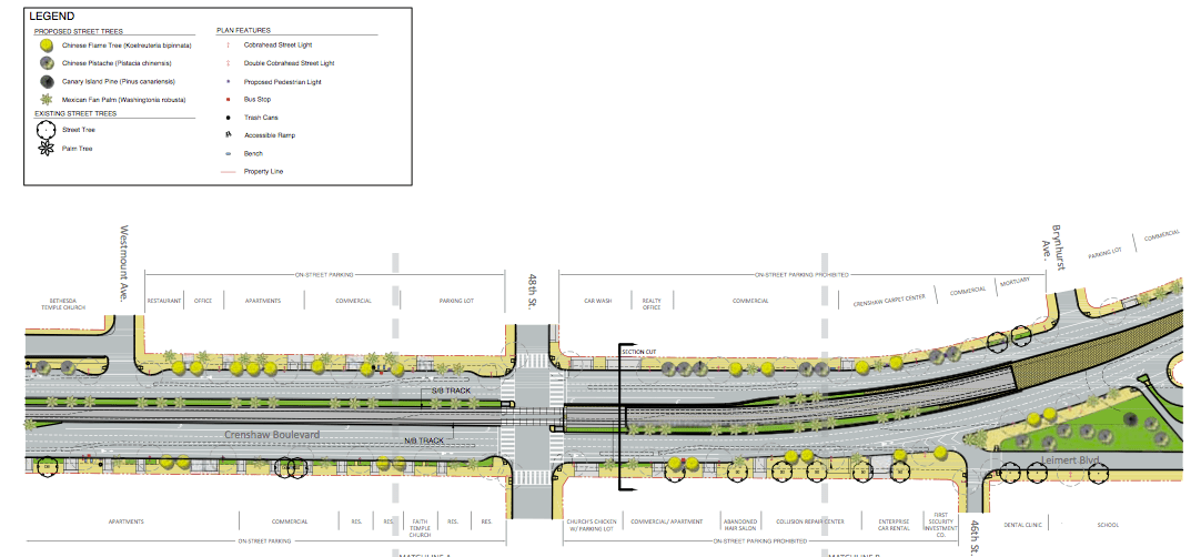 Plans for a section of Crenshaw where the train will run above ground. (Screen shot of streetscape plans)