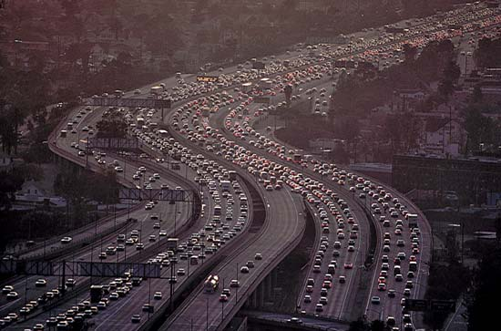 Heckuva job, Caltrans. Image:##http://kids.britannica.com/comptons/art-124808/Traffic-on-the-Los-Angeles-freeways-is-frequently-bumper-to##Kids Britannica##